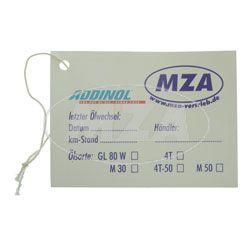ADDINOL - MZA Ölwechselaufkleber für Moped / Motorrad, sehr elastisch